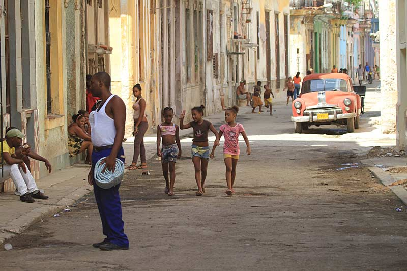 Street scene with children, Havana