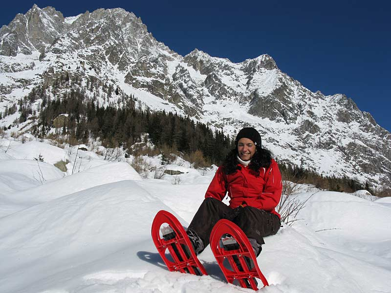 Amanda Ceraolo snowshoeing in the Val Ferret