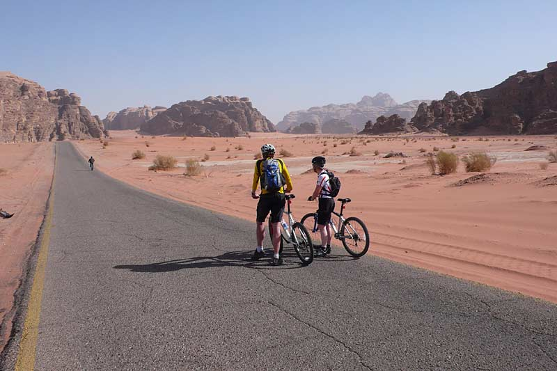 Cycling in the Wadi Rum desert
