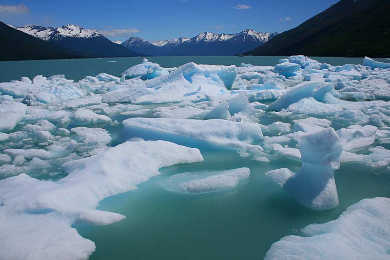 Ice flows in Lago Argentino; Patagonia