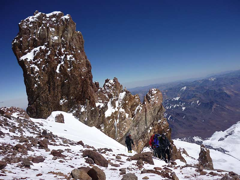 Two hours from Aconcagua summit 6500m