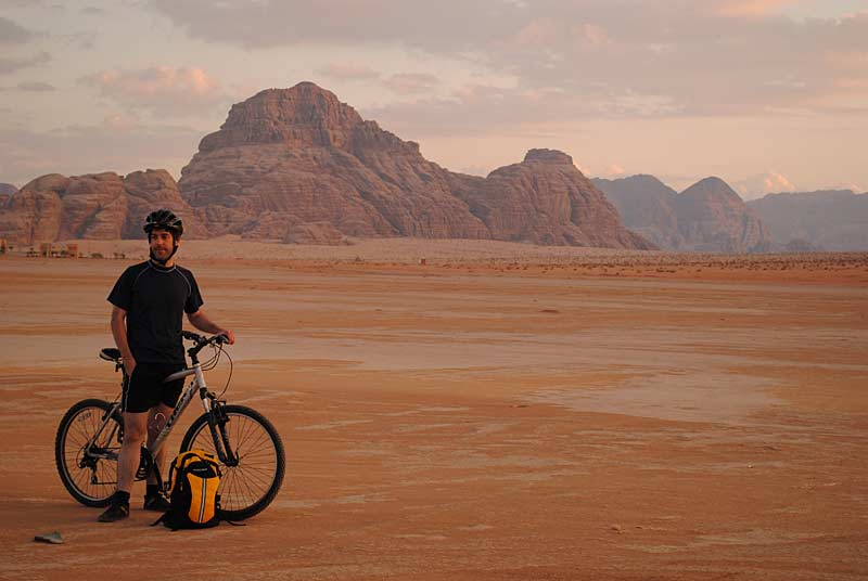 Graham in Wadi Rum desert with bike