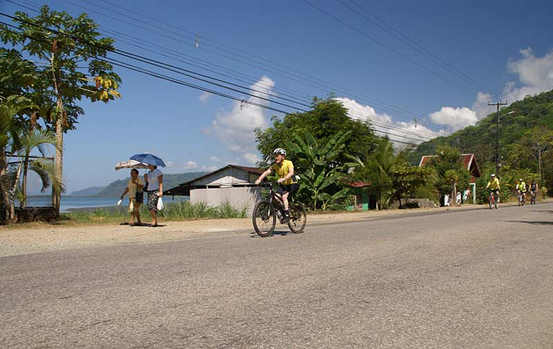 Cycling along the coastal roads, Costa Rica