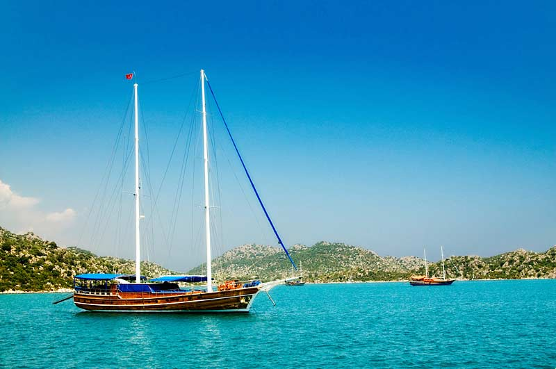 Traditional Gulets in the bay at Kekova