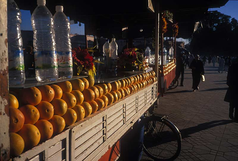 Orange juice stall in the Djma el Fnaa in Marrakech