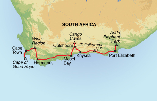 South africa tours south africa adventures - Cape town to port elizabeth itinerary ...