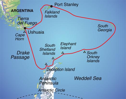 Itinerary Map for ANTARCTICA, FALKLANDS & SOUTH GEORGIA