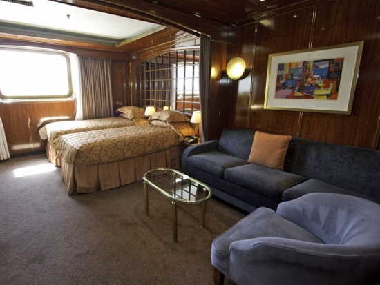This Classic cabin has twin beds, a king bed is also available